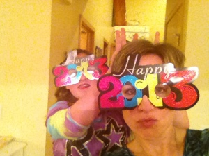 Don't you love these crazy glasses? That's my niece Miss A. in the background - we love to goof off!