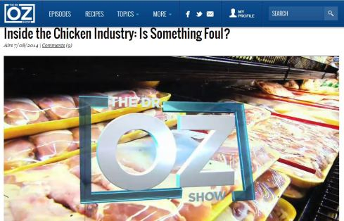 Dr. Oz Cries Foul Over Fowl  | via MyOtherMoreExcitingSelf.wordpress.com