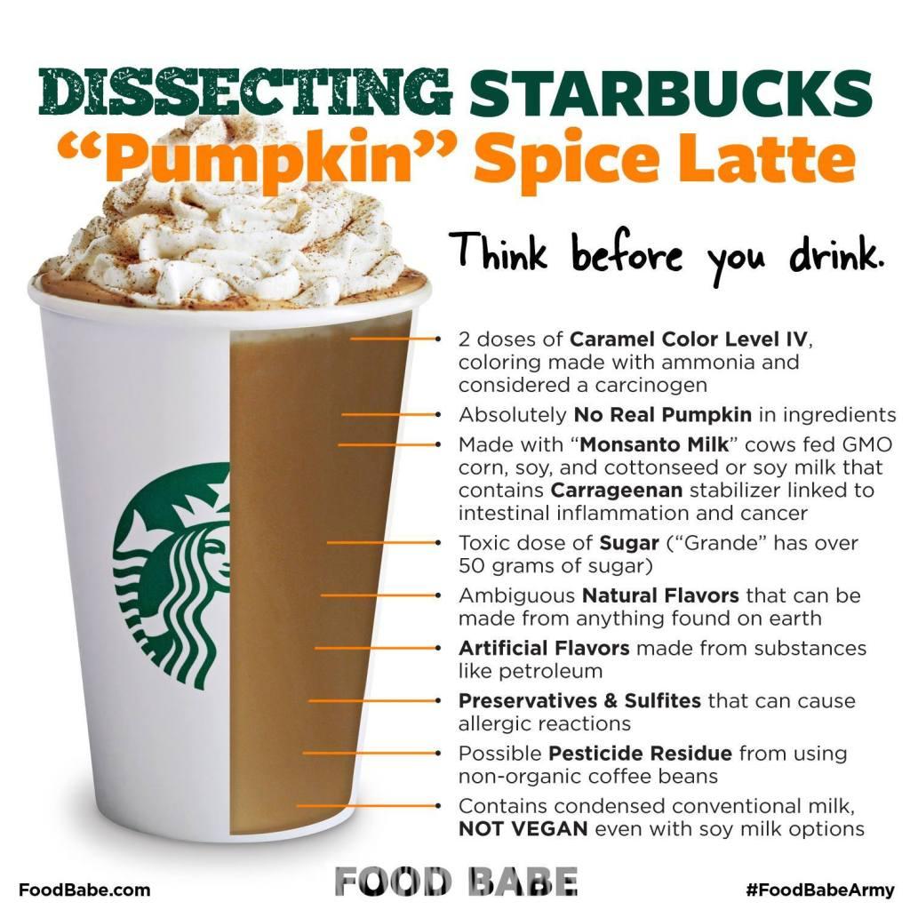 Food Babe's Incorrect Rant on Starbuck's Pumpkin Spice Latte   via MyOtherMoreExcitingSelf.wordpress.com