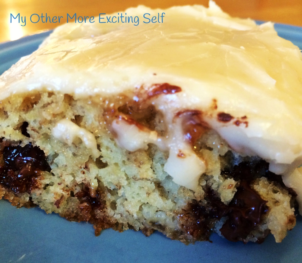 Banana Chocolate Chip Cake with Brown Butter Frosting   via MyOtherMoreExcitingSelf.wordpress.com