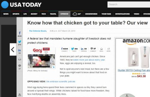 USA Today op-ed on chickens | via MyOtherMoreExcitingSelf.wordpress.com